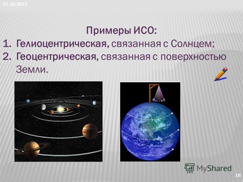 21.10.2012 18 Примеры ИСО: 1.Гелиоцентрическая, связанная с Солнцем; 2.Геоцентрическая, связанная с поверхностью Земли.