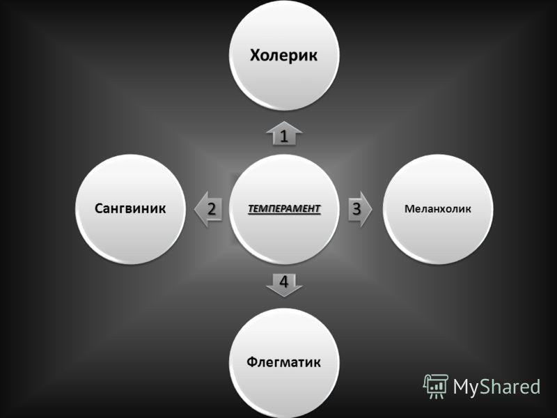 ТЕМПЕРАМЕНТ 1 Холерик 3 Меланхолик 4 Флегматик 2 Сангвиник