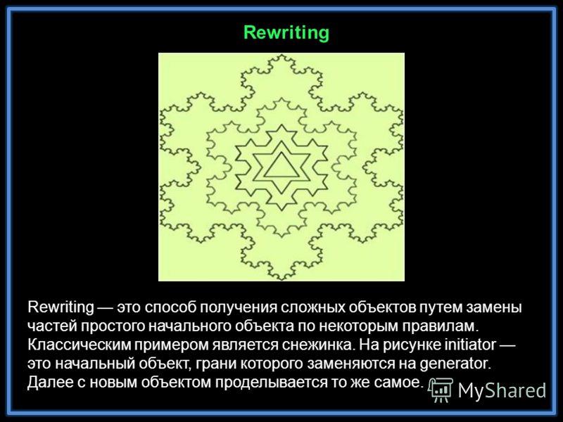 Rewriting это способ получения сложных объектов путем замены частей простого начального объекта по некоторым правилам. Классическим примером является снежинка. На рисунке initiator это начальный объект, грани которого заменяются на generator. Далее с