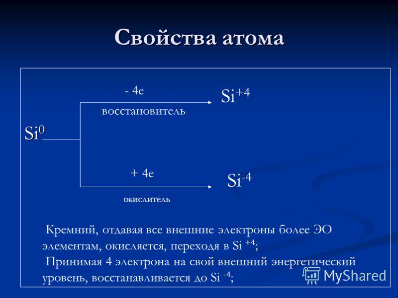 Свойства атома Si 0 - 4е восстановитель + 4е окислитель Si +4 Si -4 Кремний, отдавая все внешние электроны более ЭО элементам, окисляется, переходя в Si +4 ; Принимая 4 электрона на свой внешний энергетический уровень, восстанавливается до Si -4 ;