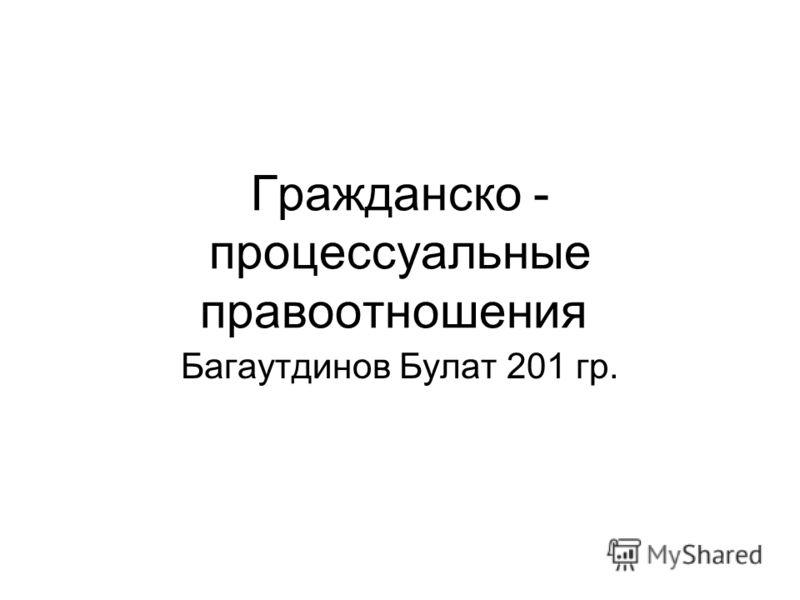 Гражданско - процессуальные правоотношения Багаутдинов Булат 201 гр.