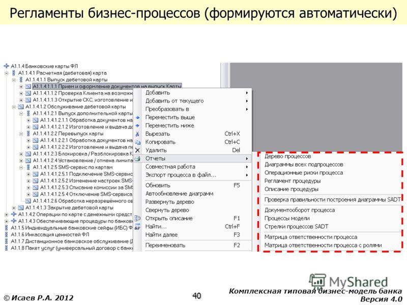 Комплексная типовая бизнес-модель банка Версия 4.0 40 © Исаев Р.А. 2012 Регламенты бизнес-процессов (формируются автоматически)