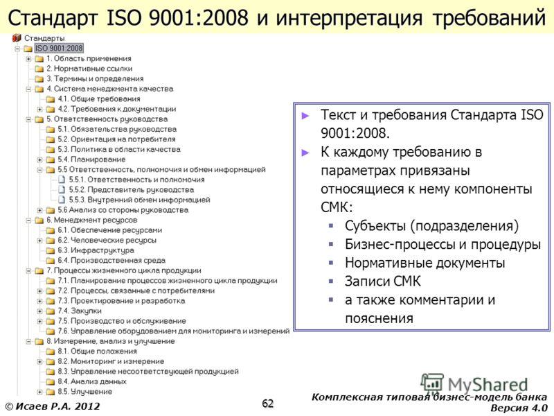 Комплексная типовая бизнес-модель банка Версия 4.0 62 © Исаев Р.А. 2012 Стандарт ISO 9001:2008 и интерпретация требований Текст и требования Стандарта ISO 9001:2008. К каждому требованию в параметрах привязаны относящиеся к нему компоненты СМК: Субъе