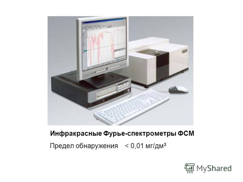 Инфракрасные Фурье-спектрометры ФСМ Предел обнаружения < 0,01 мг/дм 3