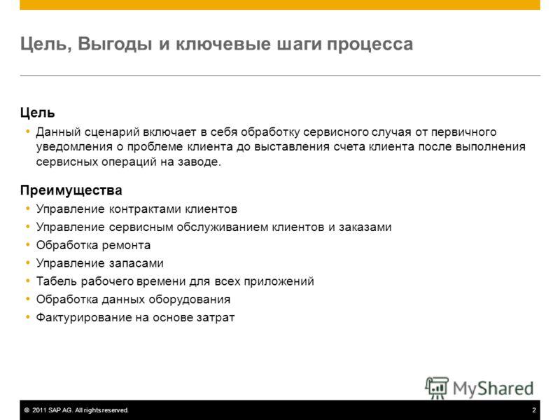 ©2011 SAP AG. All rights reserved.2 Цель, Выгоды и ключевые шаги процесса Цель Данный сценарий включает в себя обработку сервисного случая от первичного уведомления о проблеме клиента до выставления счета клиента после выполнения сервисных операций н
