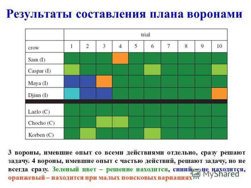 Результаты составления плана воронами 3 вороны, имевшие опыт со всеми действиями отдельно, сразу решают задачу. 4 вороны, имевшие опыт с частью действий, решают задачу, но не всегда сразу. Зеленый цвет – решение находится, синий – не находится, оранж