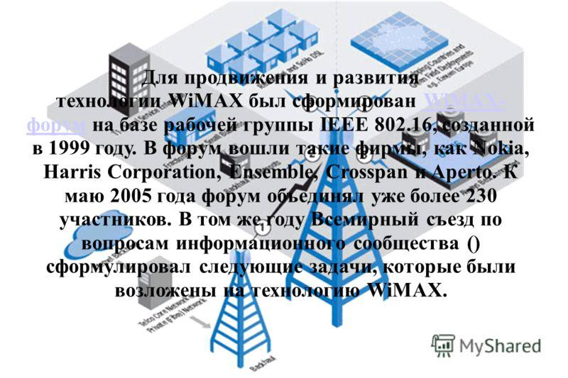Для продвижения и развития технологии WiMAX был сформирован WiMAX- форум на базе рабочей группы IEEE 802.16, созданной в 1999 году. В форум вошли такие фирмы, как Nokia, Harris Corporation, Ensemble, Crosspan и Aperto. К маю 2005 года форум объединял