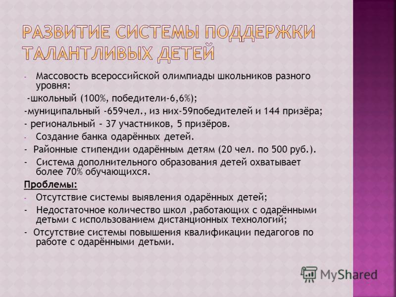 - Массовость всероссийской олимпиады школьников разного уровня: -школьный (100%, победители-6,6%); -муниципальный -659чел., из них-59победителей и 144 призёра; - региональный – 37 участников, 5 призёров. - Создание банка одарённых детей. - Районные с