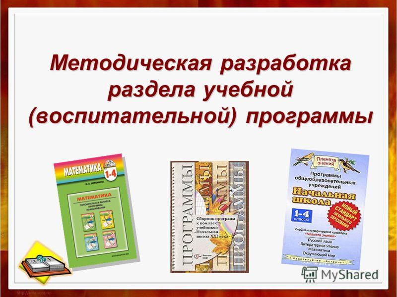 Методическая разработка раздела учебной (воспитательной) программы