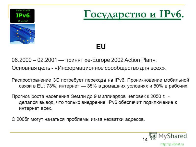 14 Государство и IPv6. EU 06.2000 – 02.2001 принят «e-Europe 2002 Action Plan». Основная цель - «Информационное соообщество для всех». Распространение 3G потребует перехода на IPv6. Проникновение мобильной связи в EU: 73%, интернет 35% в домашних усл