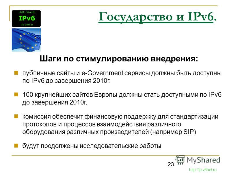 23 Государство и IPv6. Шаги по стимулированию внедрения: публичные сайты и e-Government сервисы должны быть доступны по IPv6 до завершения 2010г. 100 крупнейших сайтов Европы должны стать доступными по IPv6 до завершения 2010г. комиссия обеспечит фин