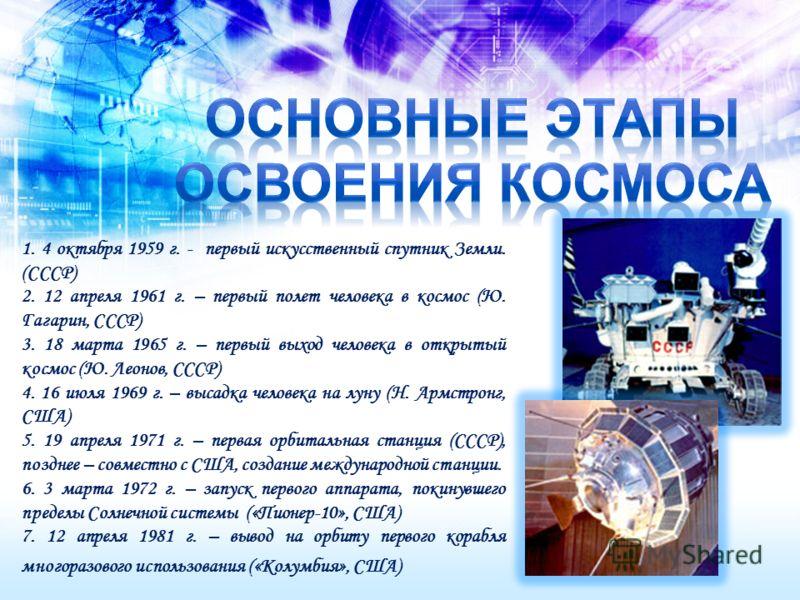 1. 4 октября 1959 г. - первый искусственный спутник Земли. (СССР) 2. 12 апреля 1961 г. – первый полет человека в космос (Ю. Гагарин, СССР) 3. 18 марта 1965 г. – первый выход человека в открытый космос (Ю. Леонов, СССР) 4. 16 июля 1969 г. – высадка че