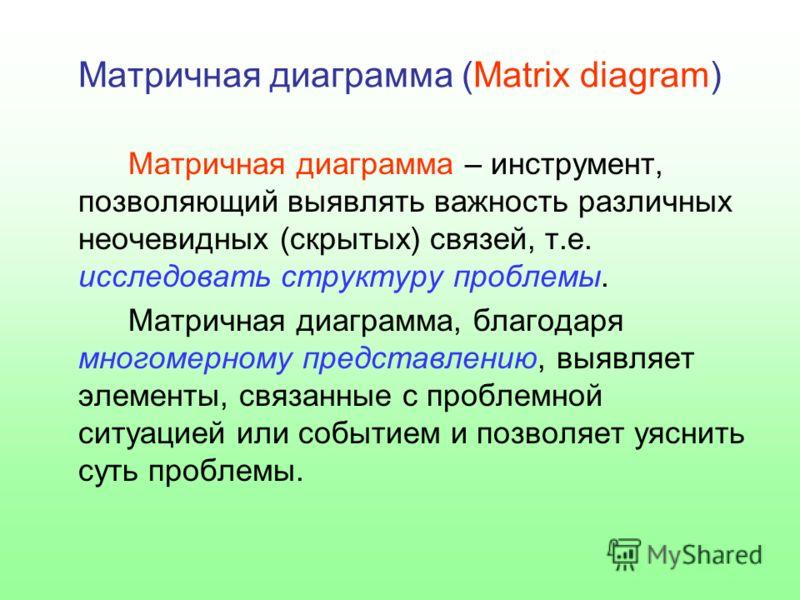 Матричная диаграмма (Matrix diagram) Матричная диаграмма – инструмент, позволяющий выявлять важность различных неочевидных (скрытых) связей, т.е. исследовать структуру проблемы. Матричная диаграмма, благодаря многомерному представлению, выявляет элем