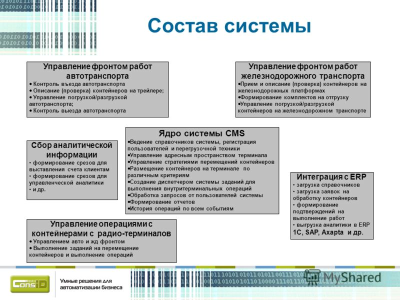 Состав системы Ядро системы CMS Ведение справочников системы, регистрация пользователей и перегрузочной техники Управление адресным пространством терминала Управление стратегиями перемещений контейнеров Размещение контейнеров на терминале по различны