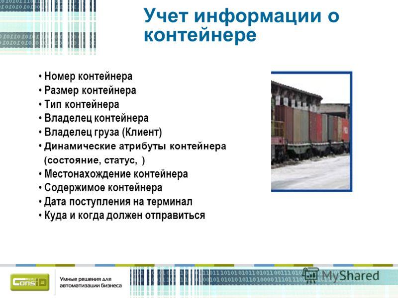 Номер контейнера Размер контейнера Тип контейнера Владелец контейнера Владелец груза (Клиент) Динамические атрибуты контейнера (состояние, статус, ) Местонахождение контейнера Содержимое контейнера Дата поступления на терминал Куда и когда должен отп