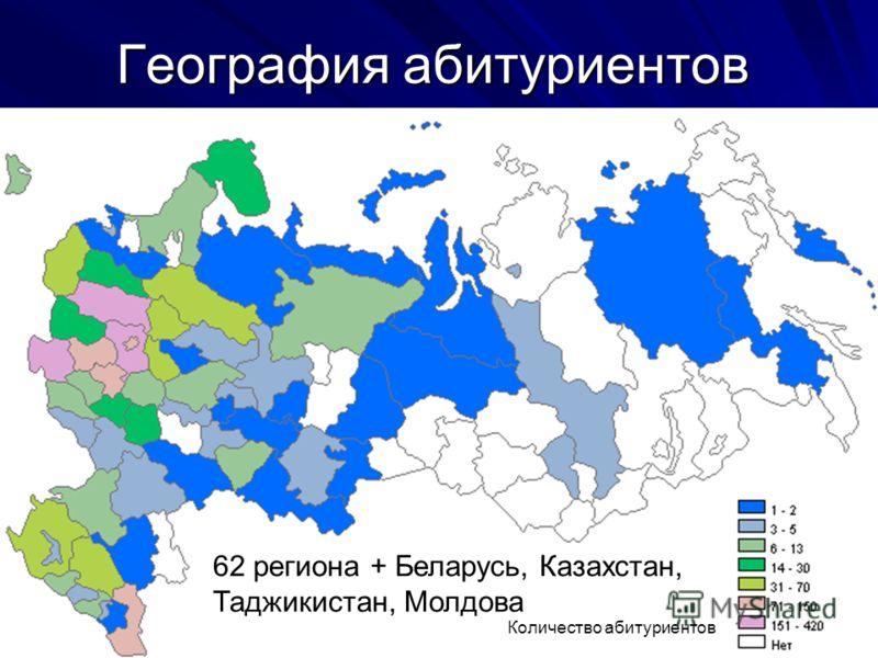 География абитуриентов Количество абитуриентов 62 региона + Беларусь, Казахстан, Таджикистан, Молдова