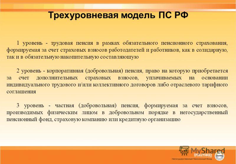 Трехуровневая модель ПС РФ 1 уровень - трудовая пенсия в рамках обязательного пенсионного страхования, формируемая за счет страховых взносов работодателей и работников, как в солидарную, так и в обязательную накопительную составляющую 2 уровень - кор