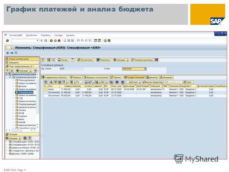 © SAP 2010 / Page 11 График платежей и анализ бюджета © SAP 2010 / Page 11
