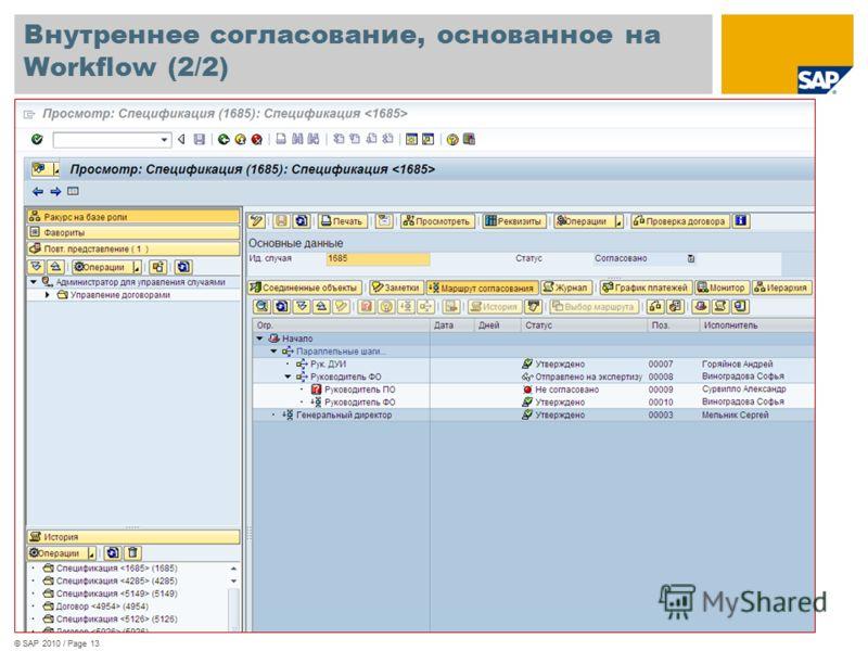 © SAP 2010 / Page 13 Внутреннее согласование, основанное на Workflow (2/2)