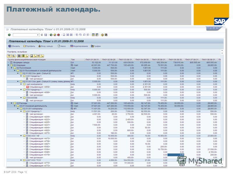 © SAP 2008 / Page 18 Платежный календарь.