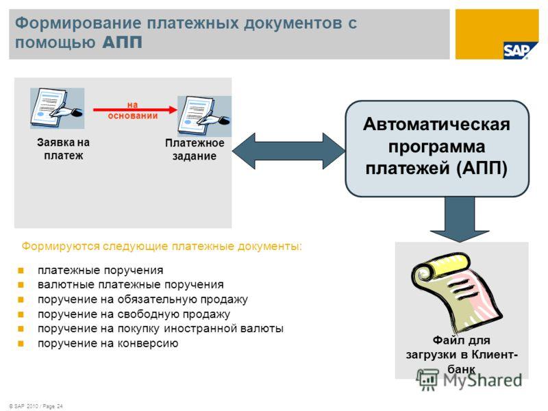 © SAP 2010 / Page 24 Формирование платежных документов с помощью АПП платежные поручения валютные платежные поручения поручение на обязательную продажу поручение на свободную продажу поручение на покупку иностранной валюты поручение на конверсию Заяв
