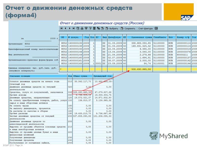 © SAP 2010 / Page 34 Отчет о движении денежных средств (форма4)