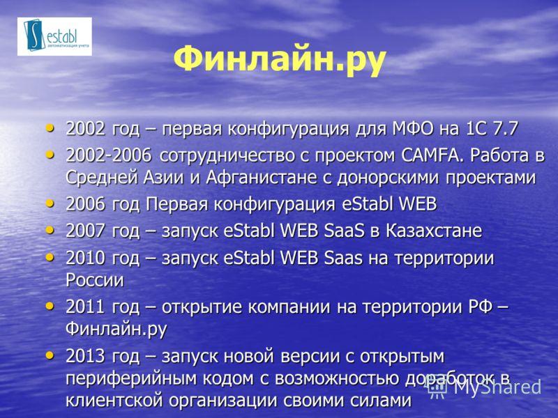Финлайн.ру 2002 год – первая конфигурация для МФО на 1С 7.7 2002 год – первая конфигурация для МФО на 1С 7.7 2002-2006 сотрудничество с проектом CAMFA. Работа в Средней Азии и Афганистане с донорскими проектами 2002-2006 сотрудничество с проектом CAM