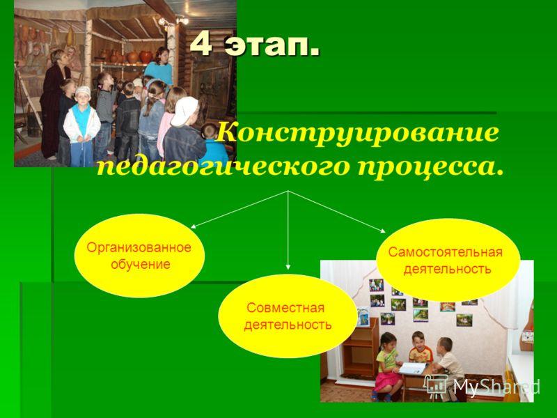 4 этап. Конструирование педагогического процесса. Организованное обучение Совместная деятельность Самостоятельная деятельность