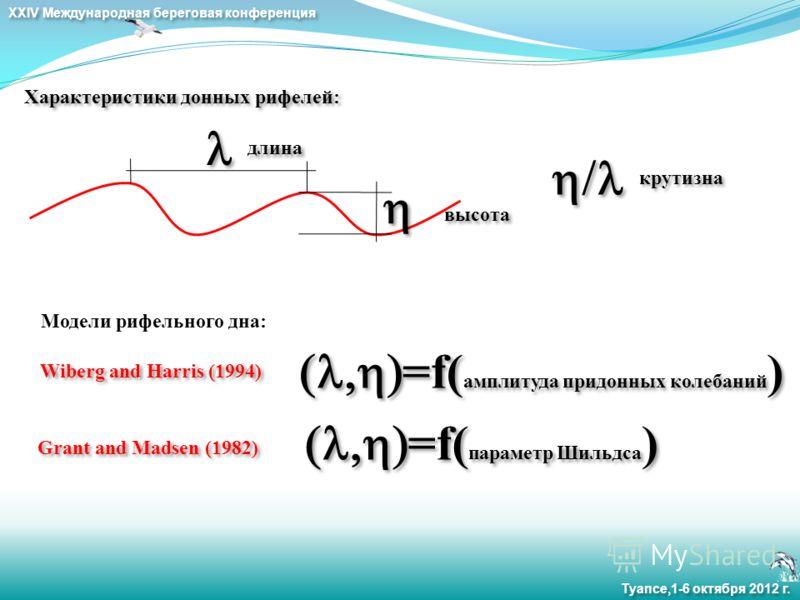 XXIV Международная береговая конференция Туапсе,1-6 октября 2012 г. Характеристики донных рифелей: длина крутизна высота Модели рифельного дна: Grant and Madsen (1982) Wiberg and Harris (1994) =f( амплитуда придонных колебаний ) =f( параметр Шильдса