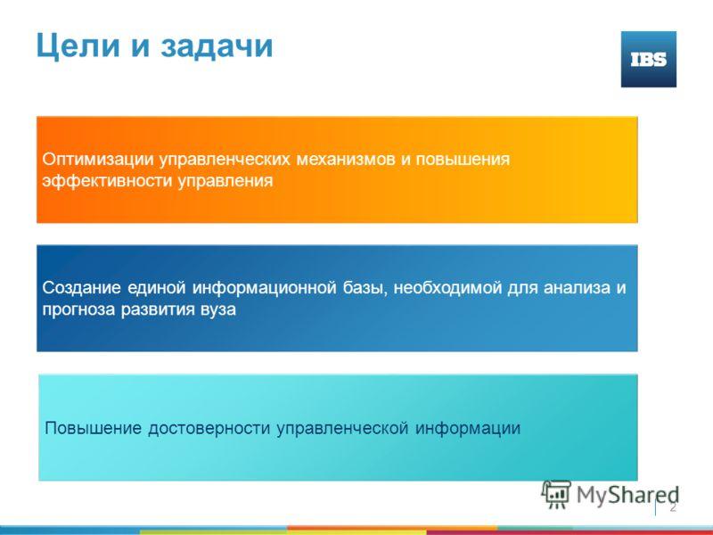 2 Цели и задачи Создание единой информационной базы, необходимой для анализа и прогноза развития вуза Повышение достоверности управленческой информации Оптимизации управленческих механизмов и повышения эффективности управления