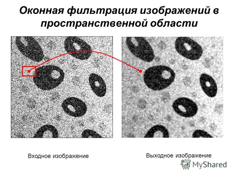 Оконная фильтрация изображений в пространственной области Входное изображение Выходное изображение