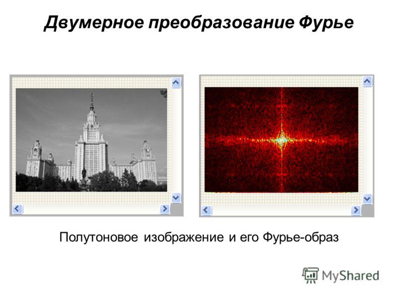 Двумерное преобразование Фурье Полутоновое изображение и его Фурье-образ