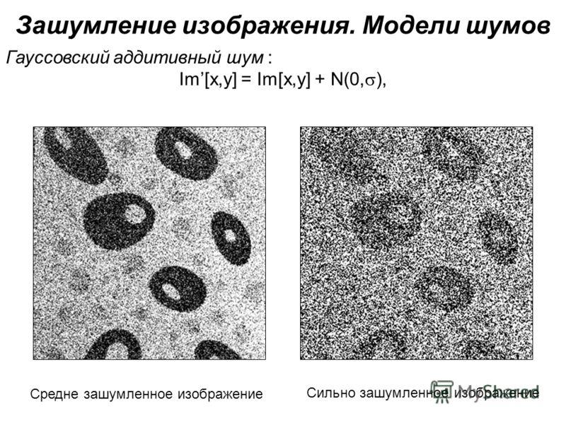 Зашумление изображения. Модели шумов Гауссовский аддитивный шум : Im[x,y] = Im[x,y] + N(0, ), Средне зашумленное изображение Сильно зашумленное изображение