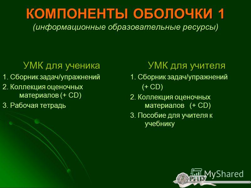 КОМПОНЕНТЫ ОБОЛОЧКИ 1 (информационные образовательные ресурсы) УМК для ученика 1. Сборник задач/упражнений 2. Коллекция оценочных материалов (+ CD) 3. Рабочая тетрадь УМК для учителя 1. Сборник задач/упражнений (+ CD) (+ CD) 2. Коллекция оценочных ма