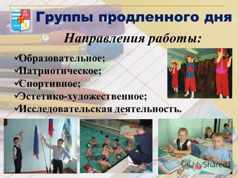 Группы продленного дня Направления работы: Образовательное; Патриотическое; Спортивное; Эстетико-художественное; Исследовательская деятельность.