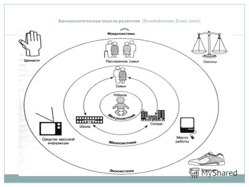 Биоэкологическая модель развития (Bronfenbrenner, Evans, 2000)