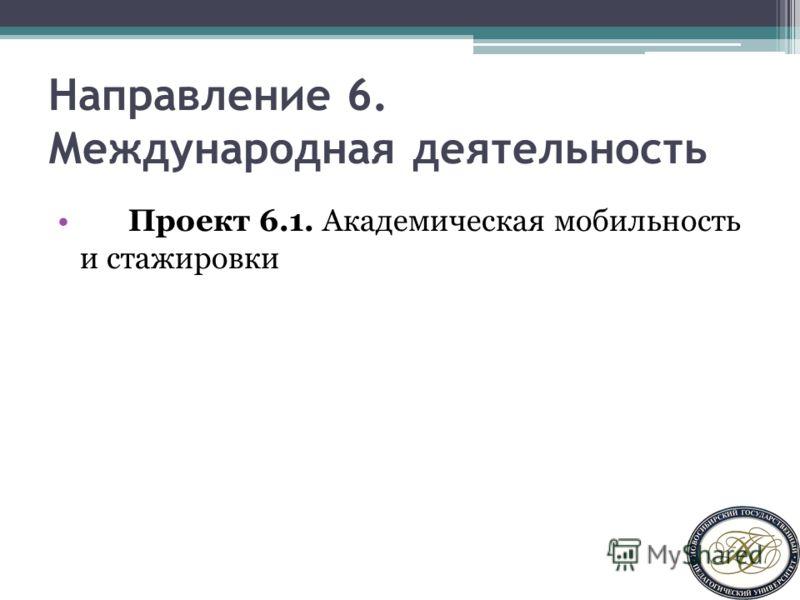 Направление 6. Международная деятельность Проект 6.1. Академическая мобильность и стажировки