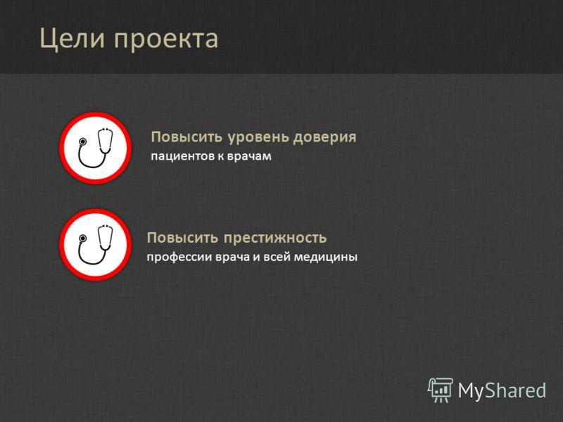 Цели проекта Повысить престижность профессии врача и всей медицины Повысить уровень доверия пациентов к врачам