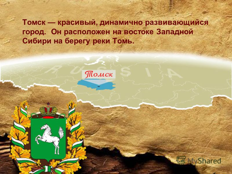 Томск красивый, динамично развивающийся город. Он расположен на востоке Западной Сибири на берегу реки Томь.