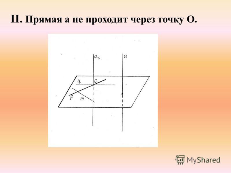 II. Прямая а не проходит через точку О.