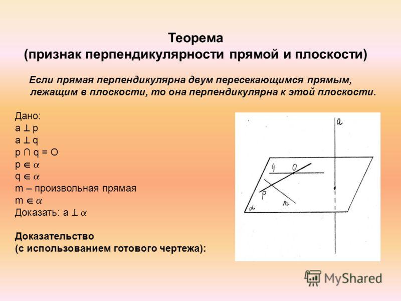 Теорема (признак перпендикулярности прямой и плоскости) Если прямая перпендикулярна двум пересекающимся прямым, лежащим в плоскости, то она перпендикулярна к этой плоскости. Дано: а p а q p q = O p q m – произвольная прямая m Доказать: а Доказательст