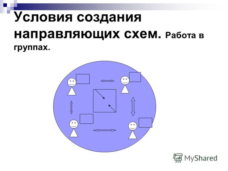 Условия создания направляющих схем. Работа в группах.