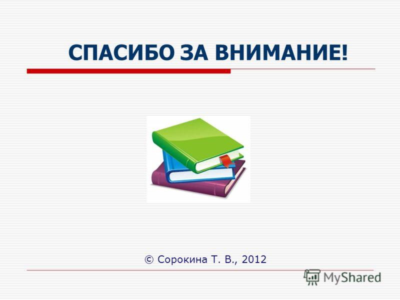 СПАСИБО ЗА ВНИМАНИЕ! © Сорокина Т. В., 2012