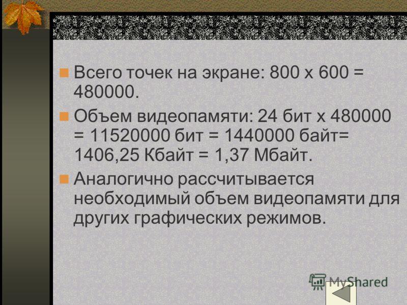 Всего точек на экране: 800 х 600 = 480000. Объем видеопамяти: 24 бит х 480000 = 11520000 бит = 1440000 байт= 1406,25 Кбайт = 1,37 Мбайт. Аналогично рассчитывается необходимый объем видеопамяти для других графических режимов.