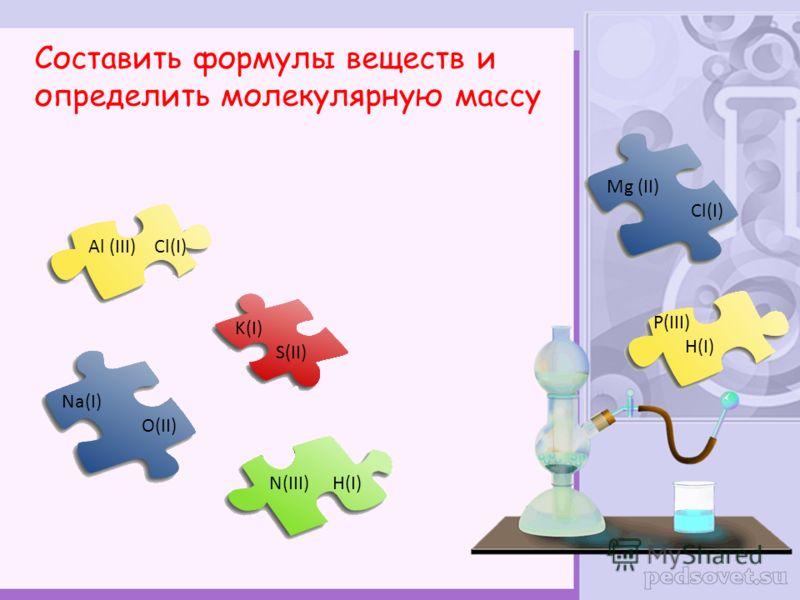 Al (III) Cl(I) Na(I) O(II) K(I) S(II) N(III) H(I) Mg (II) Cl(I) P(III) H(I) Составить формулы веществ и определить молекулярную массу