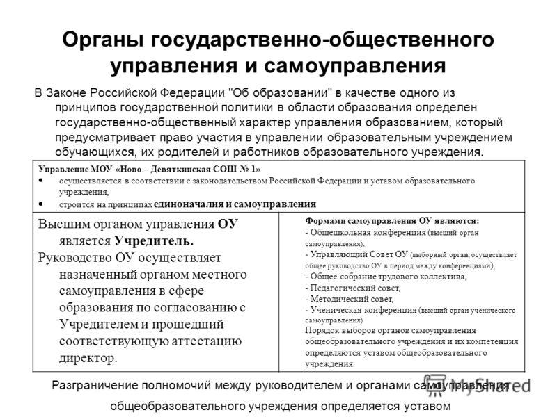 Органы государственно-общественного управления и самоуправления В Законе Российской Федерации