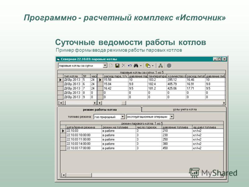 Суточные ведомости работы котлов Пример формы ввода режимов работы паровых котлов Программно - расчетный комплекс «Источник»