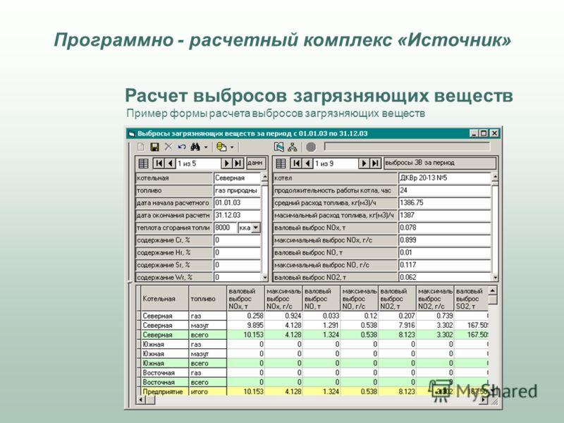 Расчет выбросов загрязняющих веществ Пример формы расчета выбросов загрязняющих веществ Программно - расчетный комплекс «Источник»