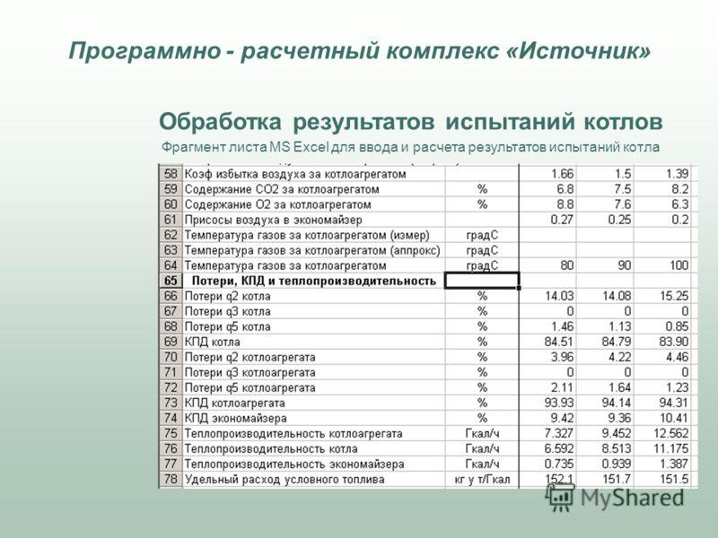 Обработка результатов испытаний котлов Фрагмент листа MS Excel для ввода и расчета результатов испытаний котла Программно - расчетный комплекс «Источник»
