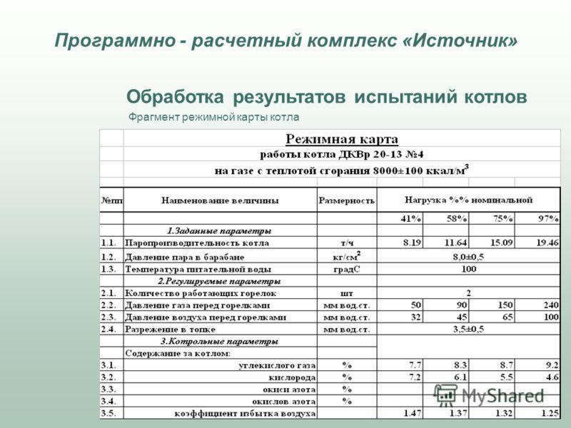 Обработка результатов испытаний котлов Фрагмент режимной карты котла Программно - расчетный комплекс «Источник»